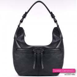 Czarna torebka  2 kieszenie z przodu na ramię / do przewieszenia
