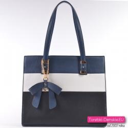 Granatowo - biało - czarna torba damska na ramię albo do przewieszenia
