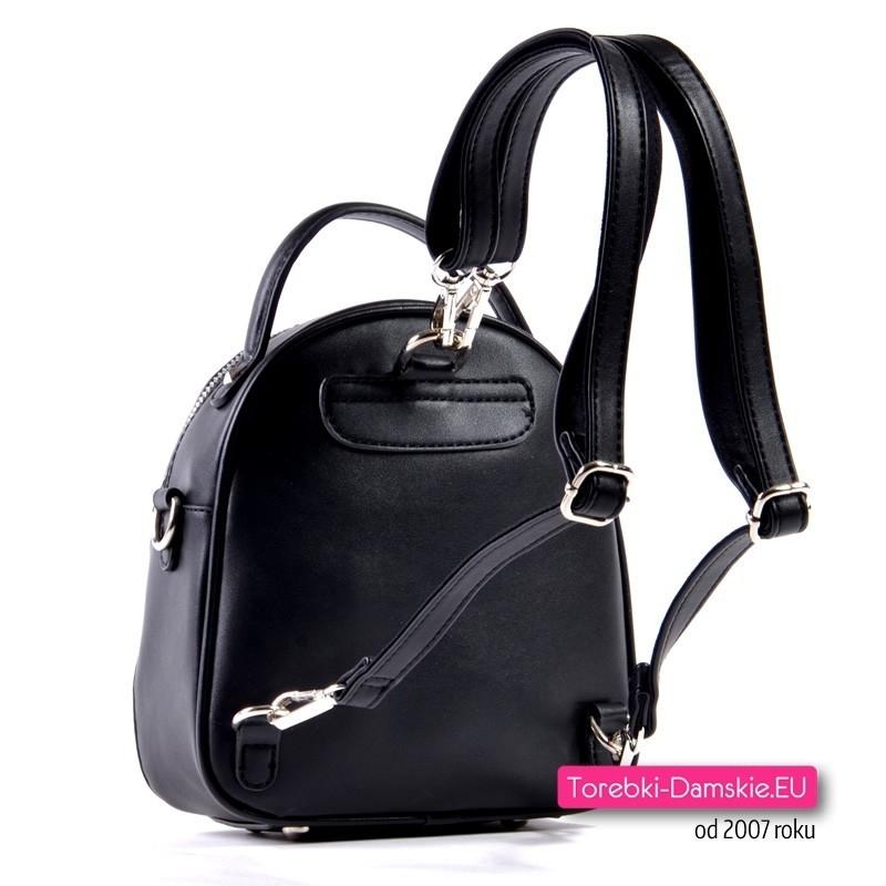 85606f82184fa Mały czarny plecak damski z możliwością noszenia w przewieszeniu