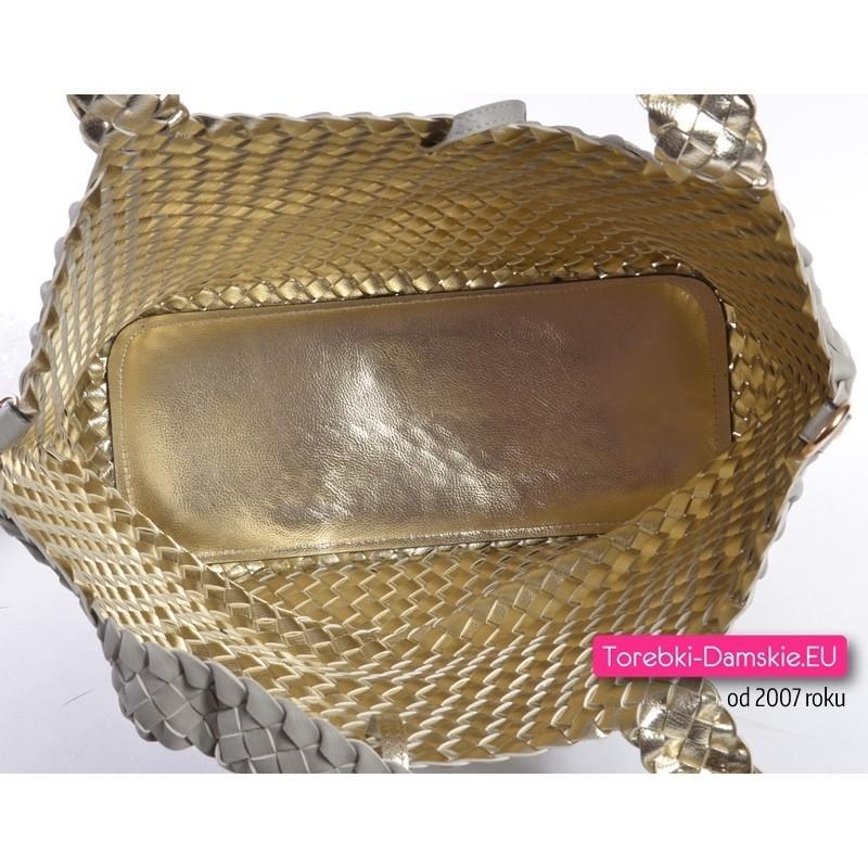 Dwustronna torba damska szara złota