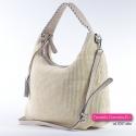 Beżowa torba damska w jasnym kremowym odcieniu ze specjalnej kaletniczej tkaniny