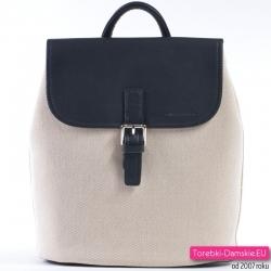 Beżowo - czarny plecak damski w stylu vintage