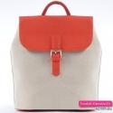 Beżowy plecak damski z pomarańczowymi elementami