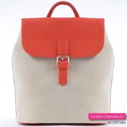 Plecak damski beżowy z dodatkami pomarańczowymi na wiosnę / lato