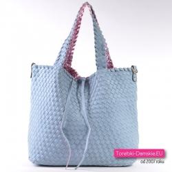 Błękitna splatana torba damska - dwustronna