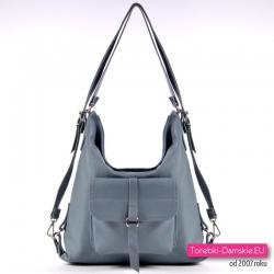 Skórzana torebka damska w kolorze stalowym - szary z nutą błękitu