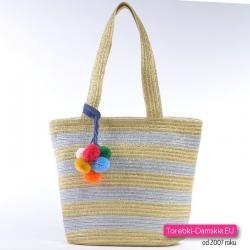 Srebrno - złota torebka miejska A4 - modny shopper
