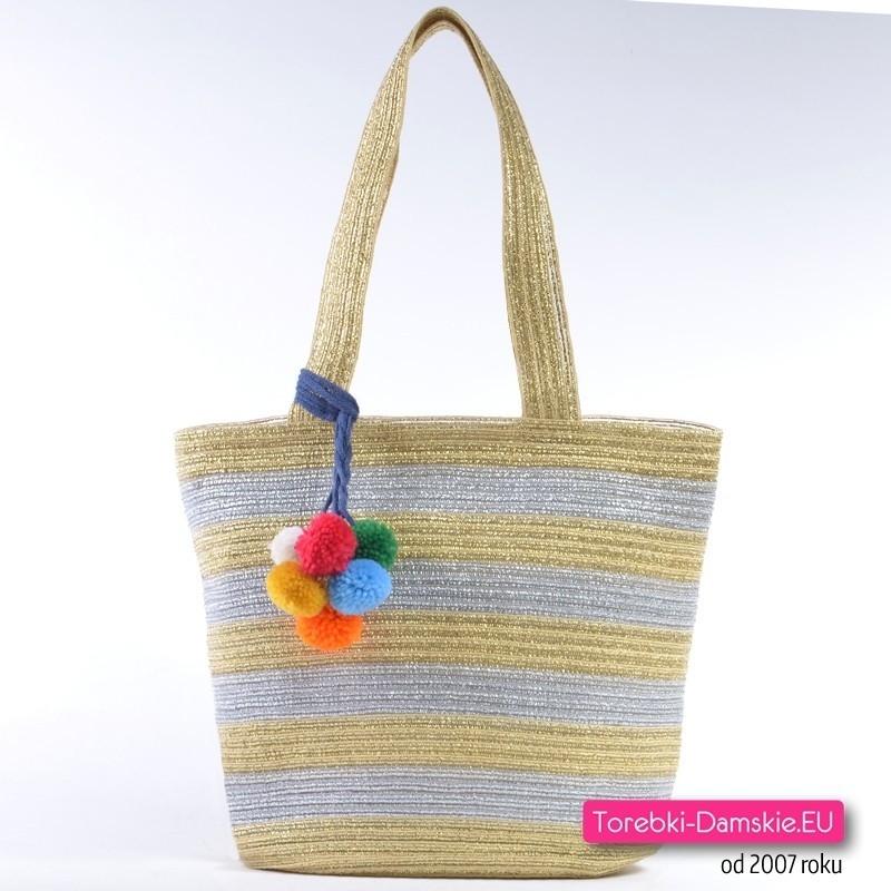 Srebrno - złota torba shopper - koszyk z ozdobnymi pomponami