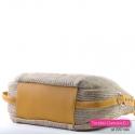 Beżowa torebka z żółtymi musztardowymi elementami