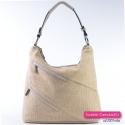 Beżowa lekka duża torba na ramię z dwoma kieszeniami z przodu