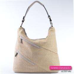 Beżowa torebka damska z tkaniny o efektownym splocie