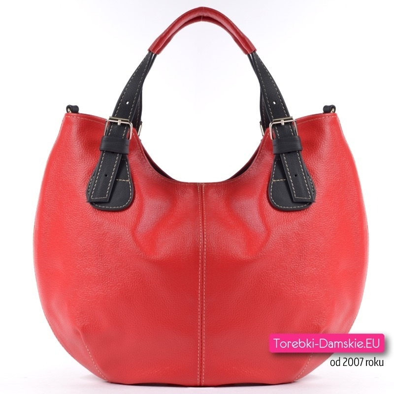 Czerwono - czarna skórzana torebka miejska