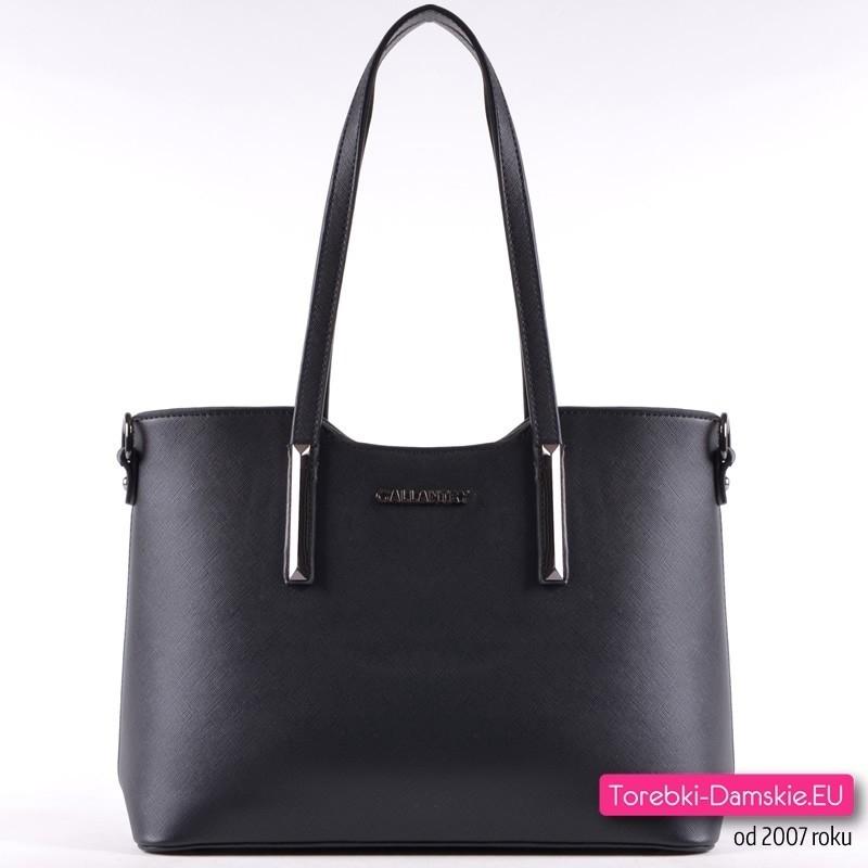 068719ad1ae12 Czarna stylowa damska torebka na ramię i do przewieszenia