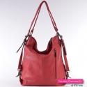 Czerwona torebka i plecak w jednym - odcień wiśniowy