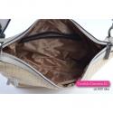 Beżowa torebka z plecionej tkaniny i skóry eko