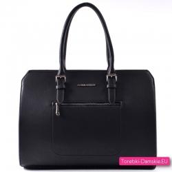 Czarna damska torba - teczka / kuferek A4