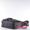 Czarna torebka z 6 kieszeniami, z szarymi i brązowymi elementami