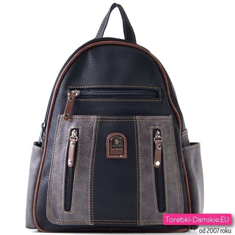Czarny plecak damski z szarymi i brązowymi elementami