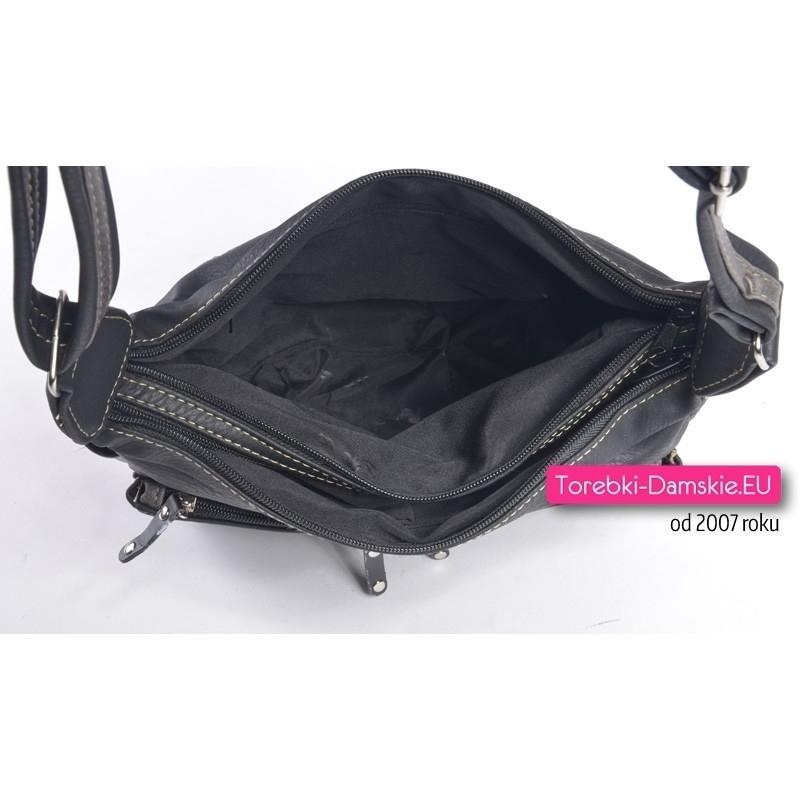 Czarna torebka z szarymi elementami, dużo kieszonek