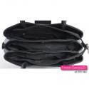 Granatowa torebka 3-komorowa z efektowną ozdobną klamrą i elementami czarnymi