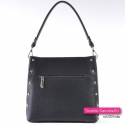 Czarna elegancka torebka damska z ozdobnymi metalowymi ćwiekami - nitami