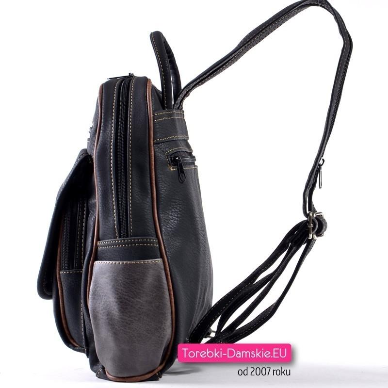 a55ce8b401b85 ... Czarny plecak damski 7 kieszeni zewnętrznych ...