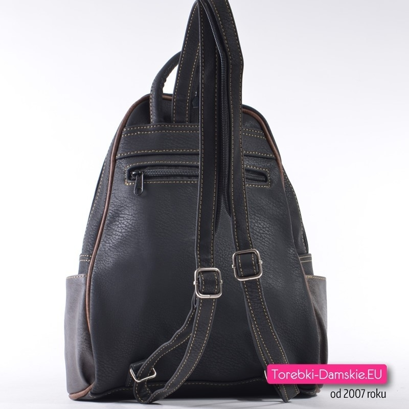 eaa4ba013436e ... Czarny plecak damski 7 kieszeni zewnętrznych ...