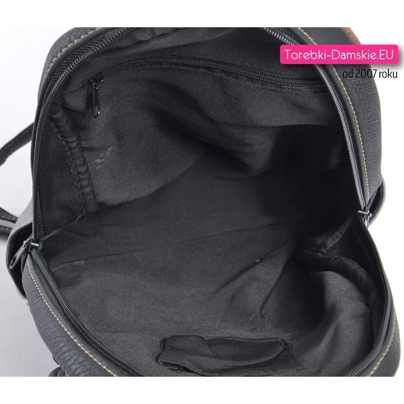 1cc8e2c7d2abb ... Czarny plecak damski 7 kieszeni zewnętrznych