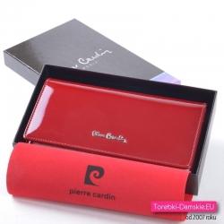 Duży czerwony damski lakierowany portfel ze skóry