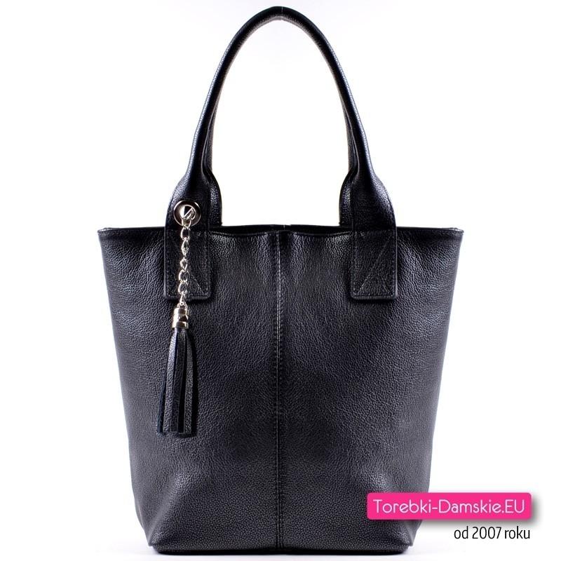 Włoska pojemna czarna torba z licowej skóry