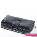 Czarny portfel damski na zamek ze skóry naturalnej