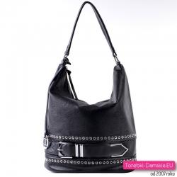 Czarna elegancka torba z ozdobnym paskiem z metalową klamrą