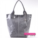 Szara włoska torba shopper - pojemny model ze skóry naturalnej