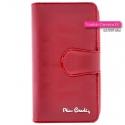 Oryginalny czerwony portfel damski ze skóry naturalnej, na zamek, spinany