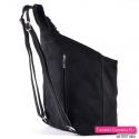 Skórzany zamszowy czarny włoski pojemny plecak damski