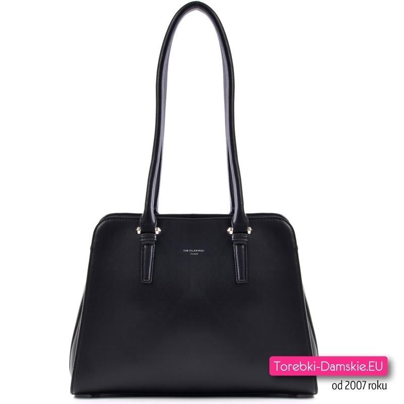 7902e5e2350f7 Klasyczna czarna torebka damska na ramię średniej wielkości