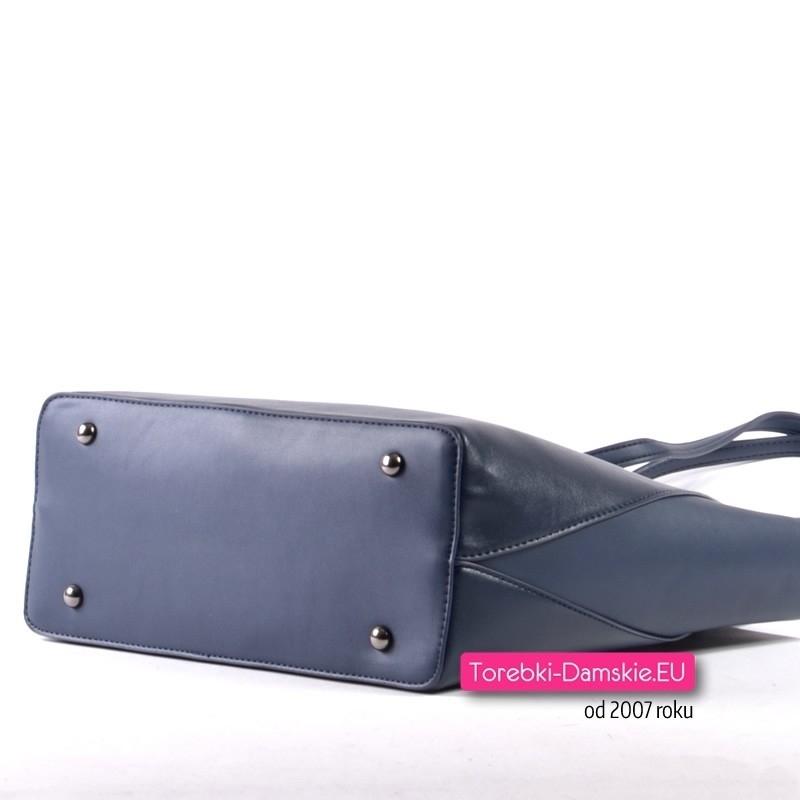 43c12da684def Granatowa torebka A4 na ramię marki David Jones