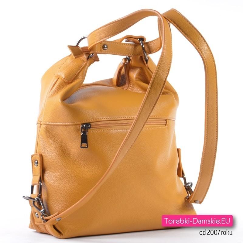 0881a53a52f80 ... Musztardowa torebka 3 w 1 - żółty plecak damski w modnym odcieniu ...