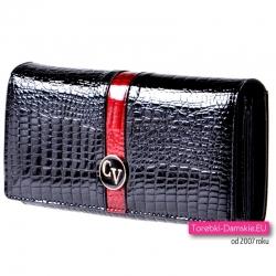 Czarno - czerwony portfel damski