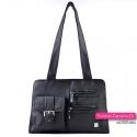Czarna torebka damska na ramię z kieszonkami