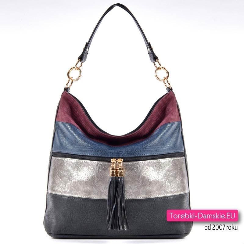 Czterokolorowa czarno - srebrno - granatowo - bordowa torba damska