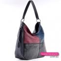 Czarno - granatowo - bordowa torebka z ćwiekami