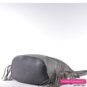 Popielato - grafitowa torebka damska z efektownym wzorem i ornamentami