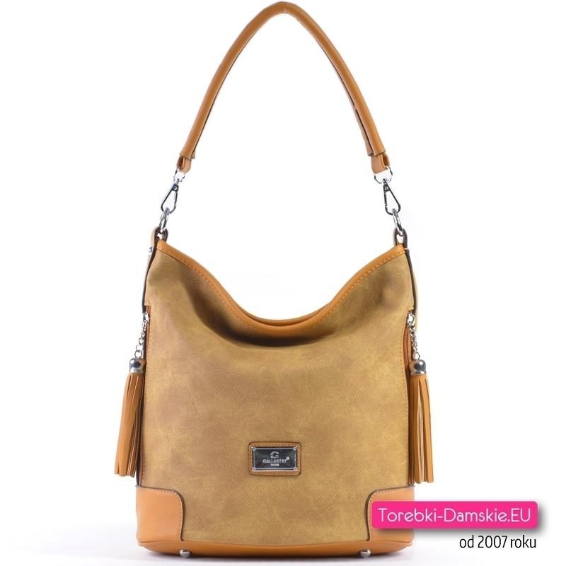 Żółta musztardowa torebka z chowstami - modny odcień koloru