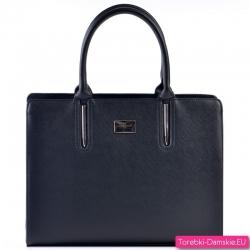 Czarny prostokątny kuferek - pojemna torba saffiano