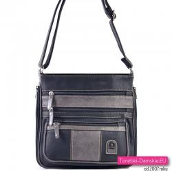 Czarno - grafitowa torebka średniej wielkości na ramię lub do przewieszenia