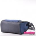 Granatowa torebka - kuferek z kieszenią z przodu