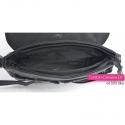 Czarno - szara torebka z klapą do przewieszenia / na ramię