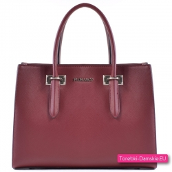 Bordowa torebka damska - markowy kuferek A4