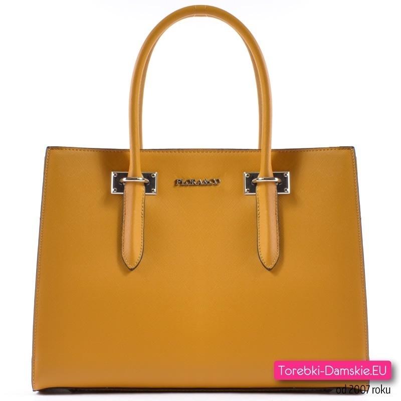 a01fcc38505e0 Markowy kuferek w kolorze musztardowym - torebka w modnym fasonie